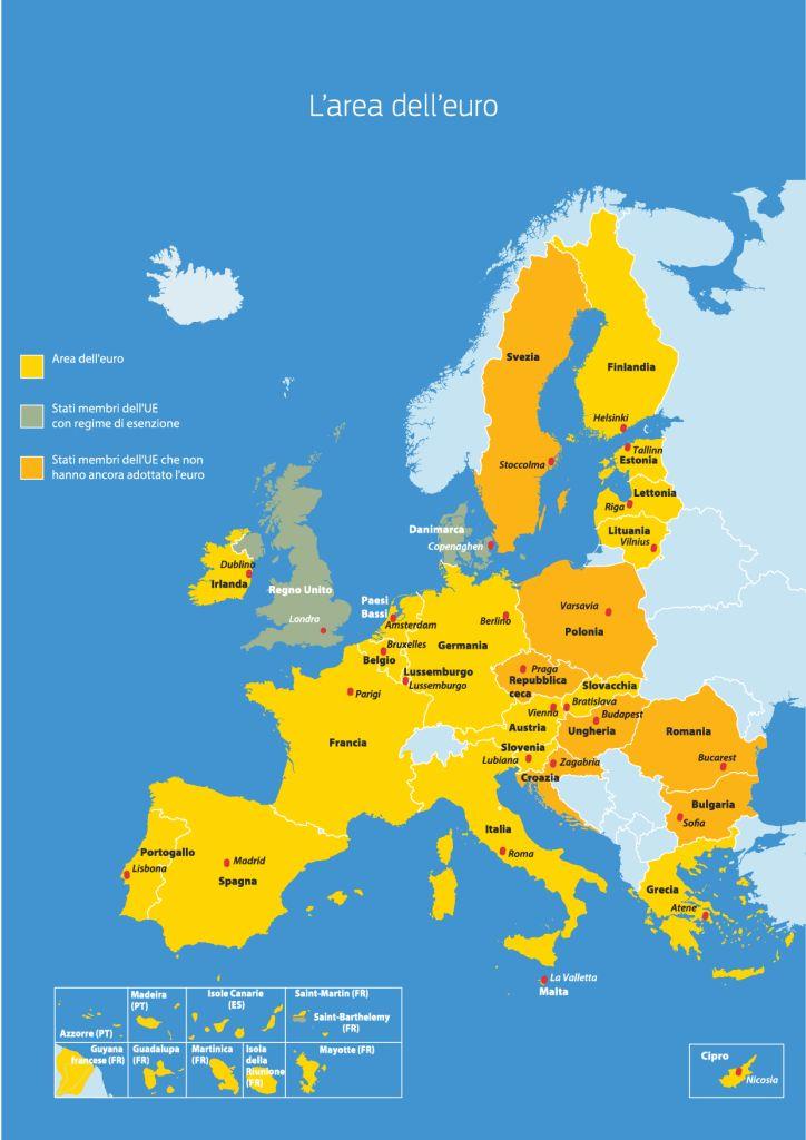 La mappa dell'area euro divisa per adozione della moneta: gli Stati Europei senza euro