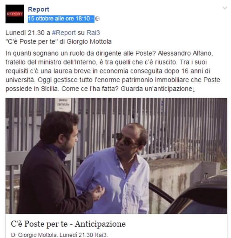 Il post sulla pagina Facebook di Report anticipa il servizio sul fratello del Ministro Alfano