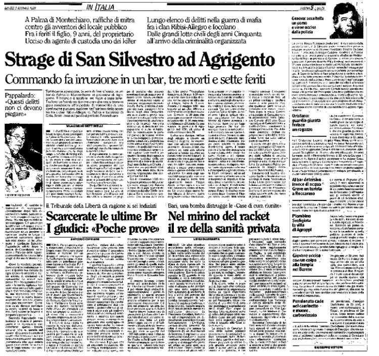 La faida di Palma di Montechiaro sull'Unità del 2 gennaio 1992