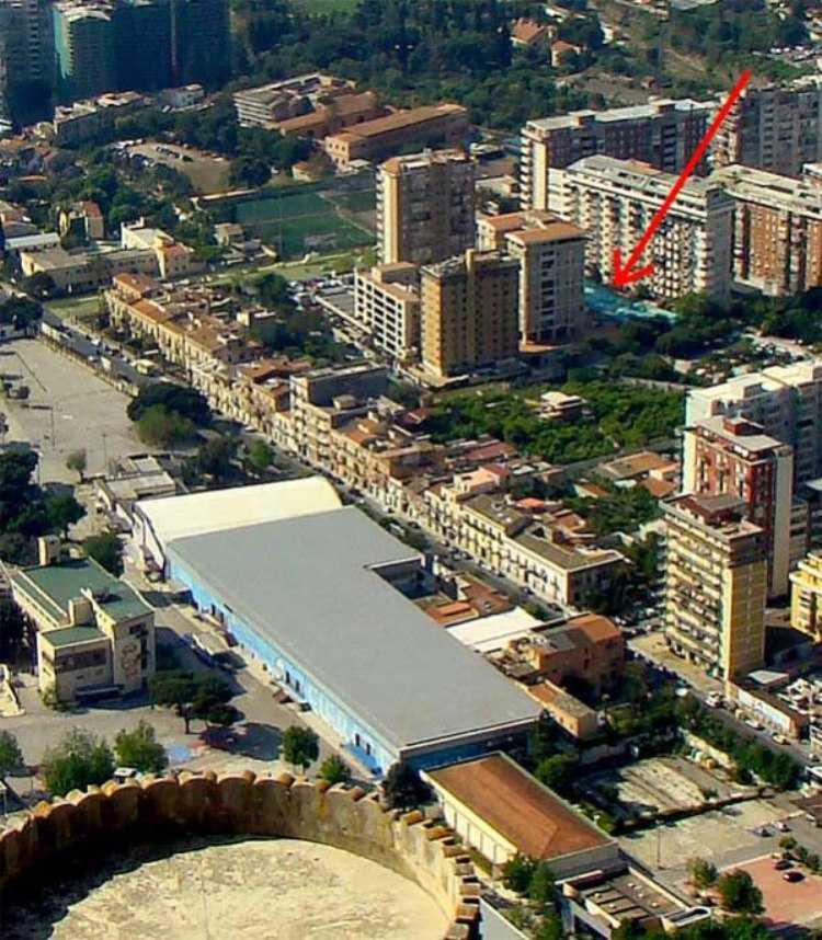 Via D'Amelio vista dal castello Utveggio a Palermo