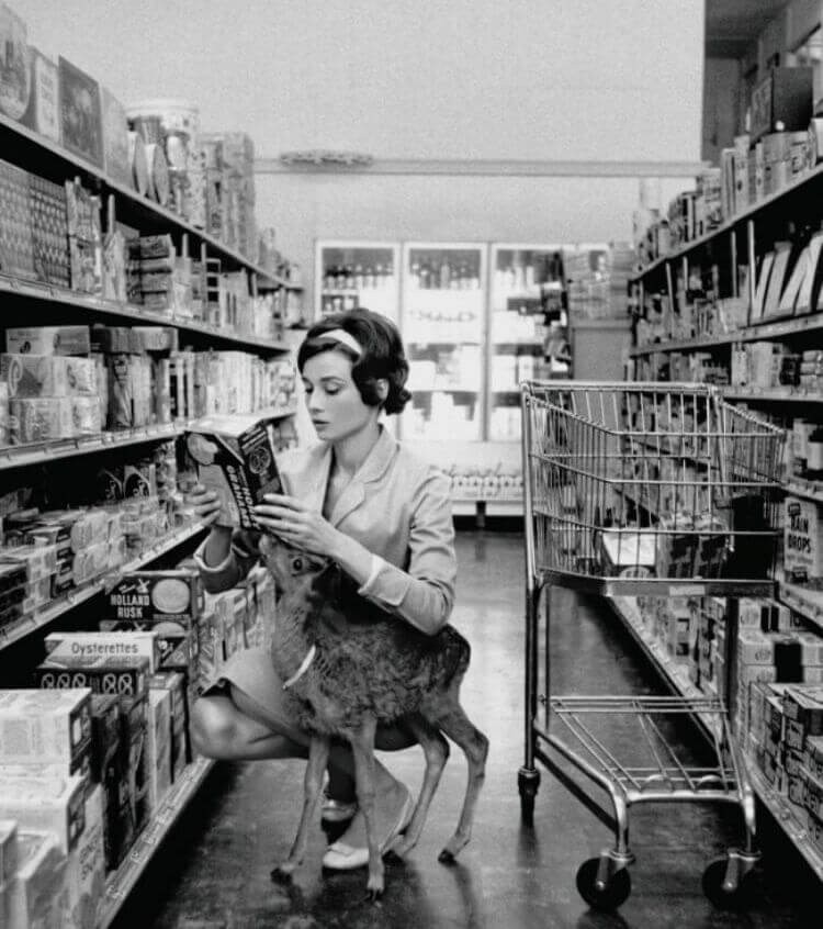 Audrey Hepburn fa la spesa portandosi il suo cervo, 1958