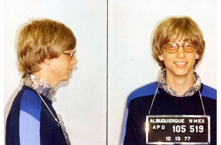 Bill Gates, quando fu arrestato per guida senza patente, 1977.