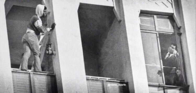 Muhammad Ali cerca di convincere un aspirante suicida a non buttarsi. 1981