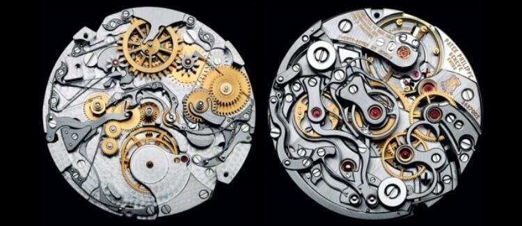 Interno di un meccanismo di orologio creato da Patek Philippe, riconosciuto come il più talentuoso orologiaio della storia