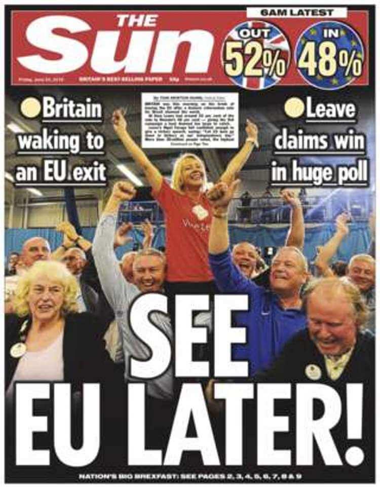 La copertina del Sun dopo i risultati del referendum sulla Brexit