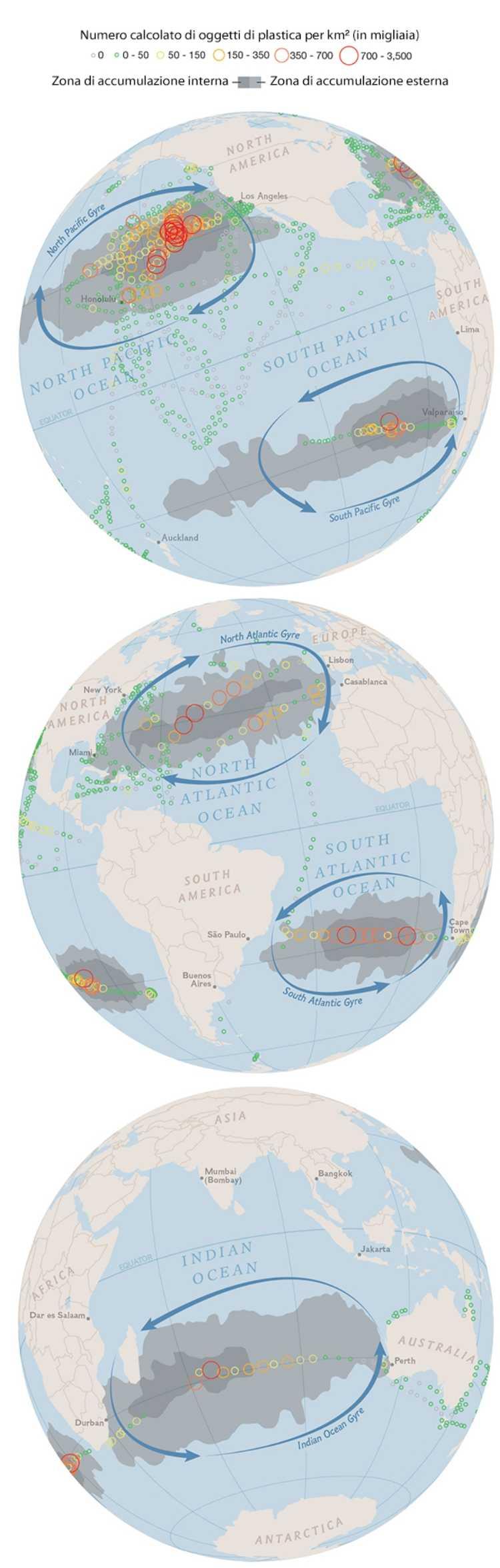 mappa inquinamento plastica oceani