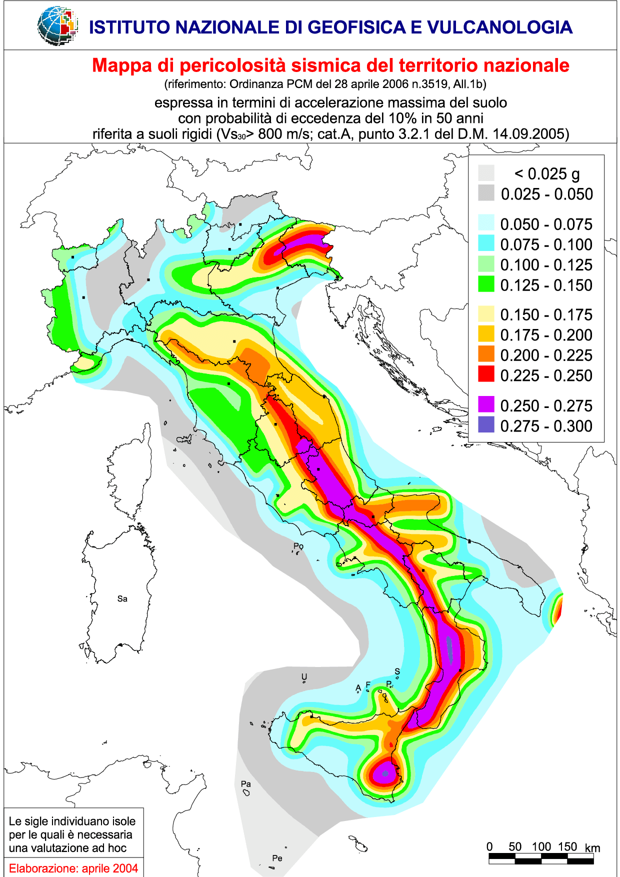Mappa della pericolosità sismica in Italia