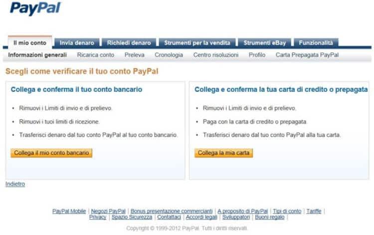 Verifica conto Paypal