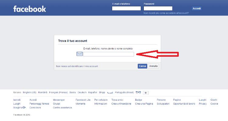 facebook identify login accesso diretto