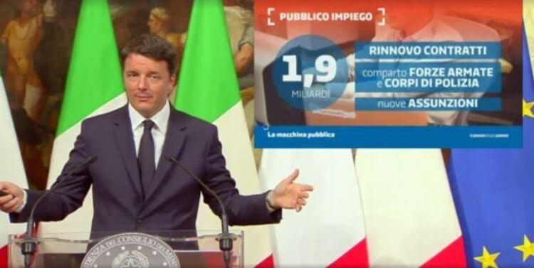 La slide di Renzi, sul pubblico impiego, durante la presentazione della Legge di Bilancio 2017