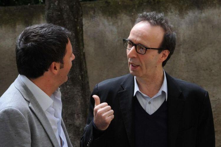 Roberto Benigni in compagnia dell'amico premier Matteo Renzi