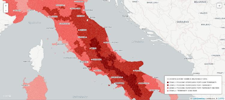 La mappa della classificazione sismica nazionale comune for Mappa sismica italia