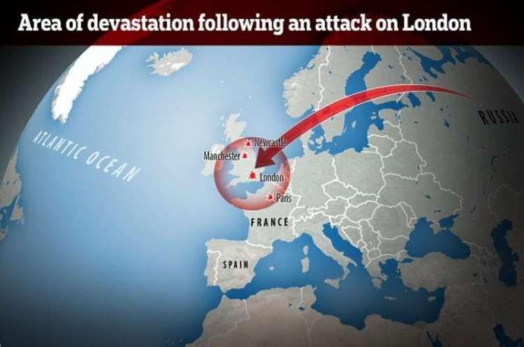La devastante portata di un attacco realizzato dalla Russia con il Satan 2, progettato all'interno del Makeyev State Rocket Centre