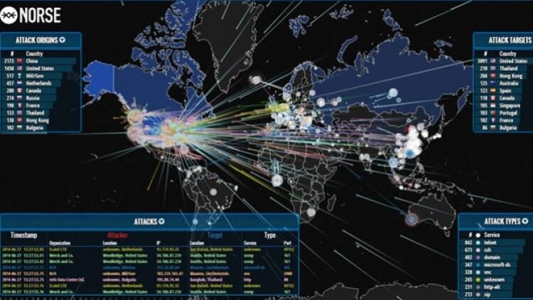 Questa mappa mostra un attacco di cyber war in tempo reale