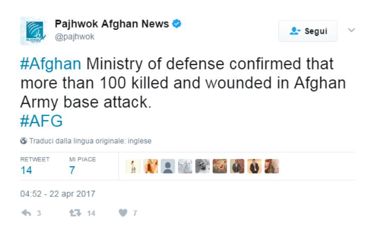 attentato talebani afghanistan 22 aprile 2017