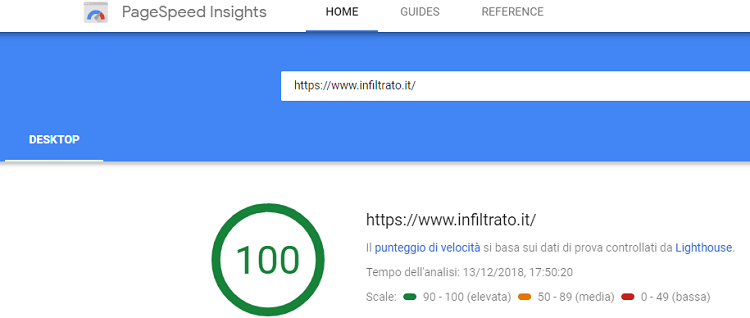 PageSpeed Insights Infiltrato.it